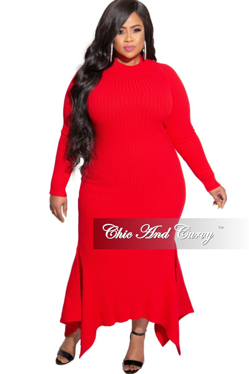 New Plus Size Ribbed Knit Maxi Dress with High-Low Bottom in Red