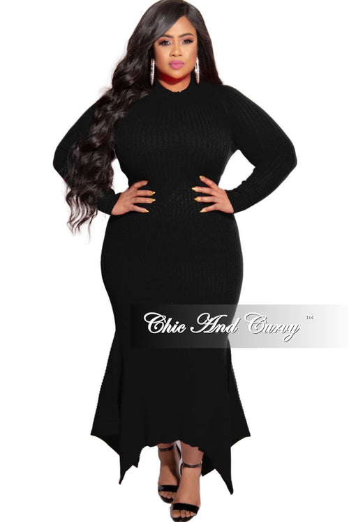 New Plus Size Ribbed Knit Maxi Dress with High-Low Bottom in Black