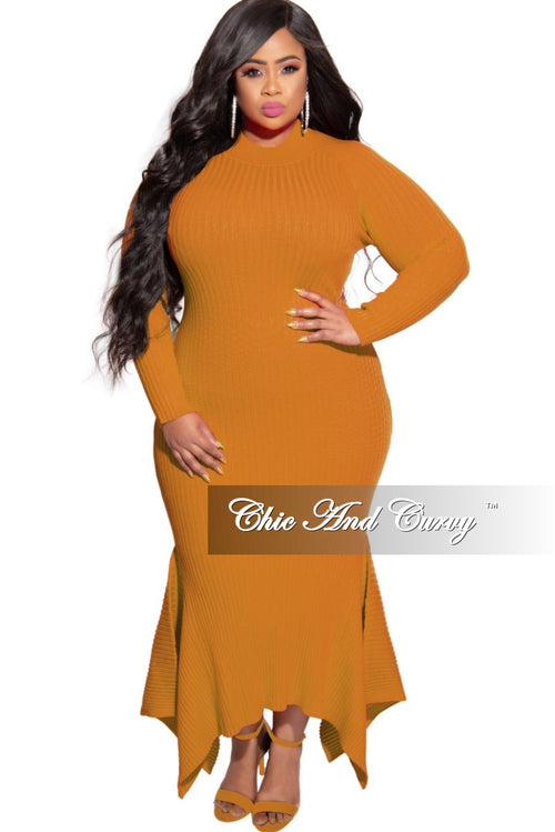 New Plus Size Ribbed Knit Maxi Dress with High-Low Bottom in Mustard