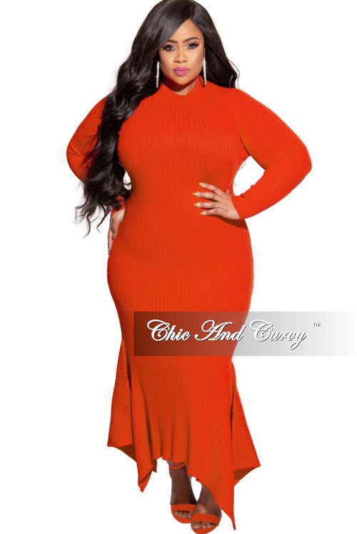 New Plus Size Ribbed Knit Maxi Dress with High-Low Bottom in Orange