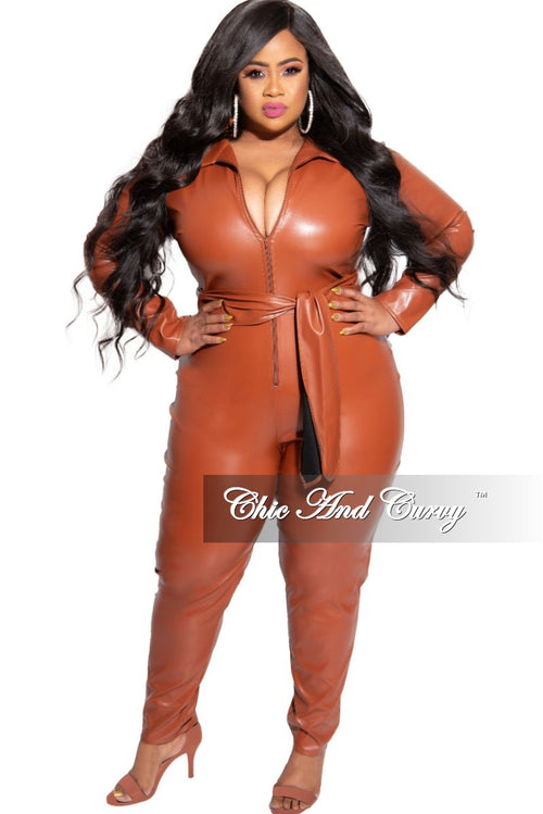Final Sale Plus Size Liquid Collared Zip-Up Jumpsuit with Tie in Rust