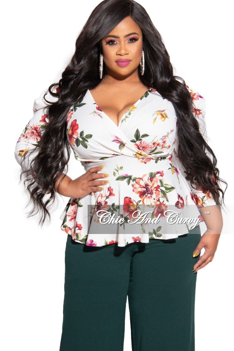 Final Sale Plus Size Faux Wrap Peplum Top in Ivory Floral Print