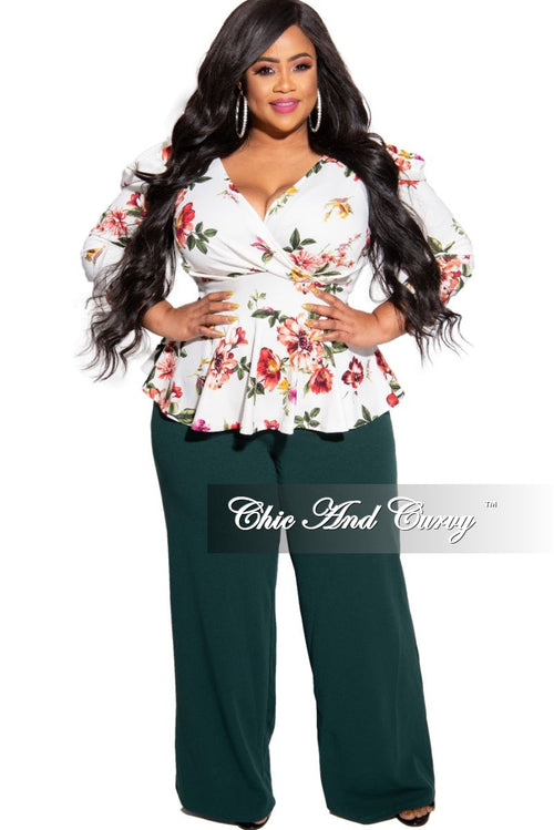 Final Sale Plus Size Pants with High-Waist and Wide Legs in Dark Green