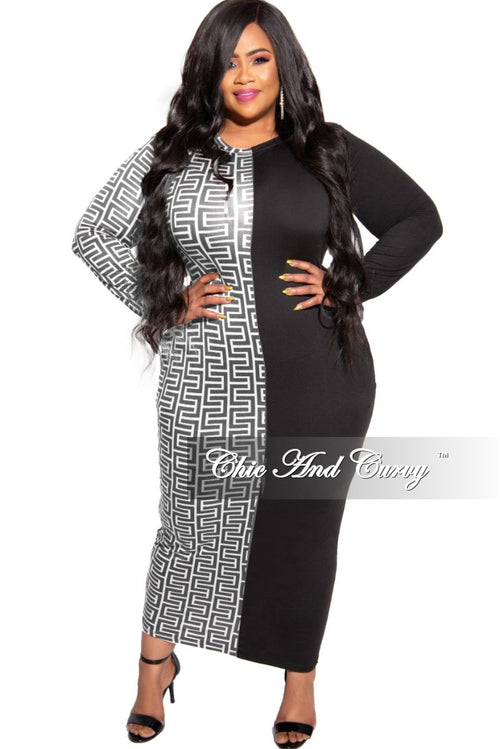 New Plus Size Colorblock Dress in Black and White Maze Print