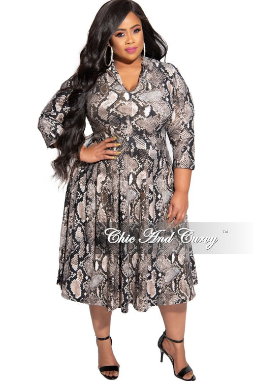 New Plus Size Collared 3/4 Sleeves Flare Dress in Brown and Black Snake Print