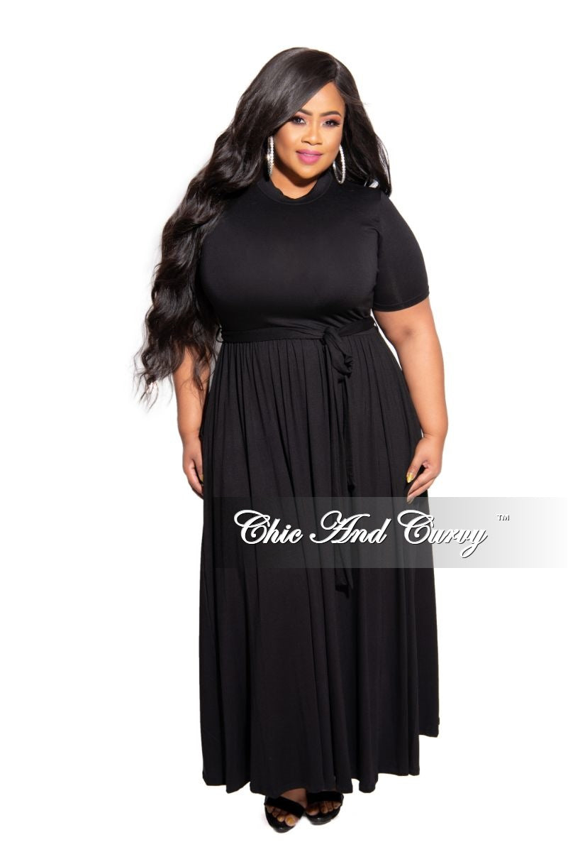 New Plus Size Pocket Maxi Dress with Tie in Black