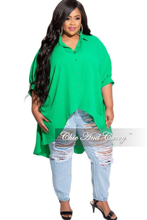 Final Sale Plus Size Oversized Wing Sleeve High-Low Top in Green