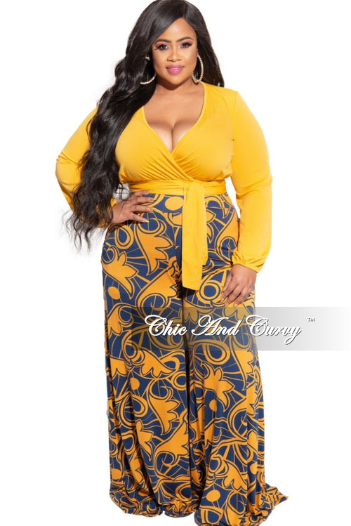 New Plus Size Palazzo Pants in Mustard and Navy Design Print