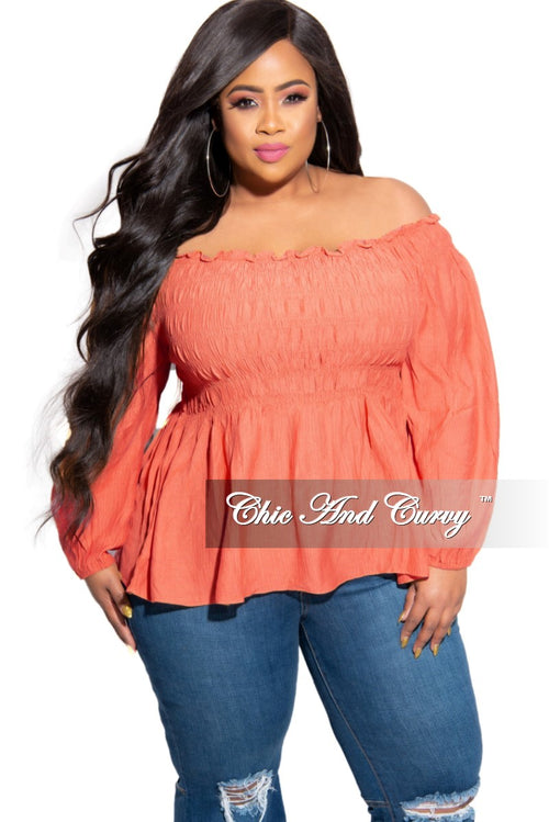 New Plus Size Off the Shoulder Smocked Top in Coral