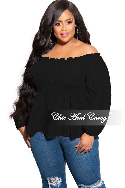 New Plus Size Off the Shoulder Smocked Top in Black