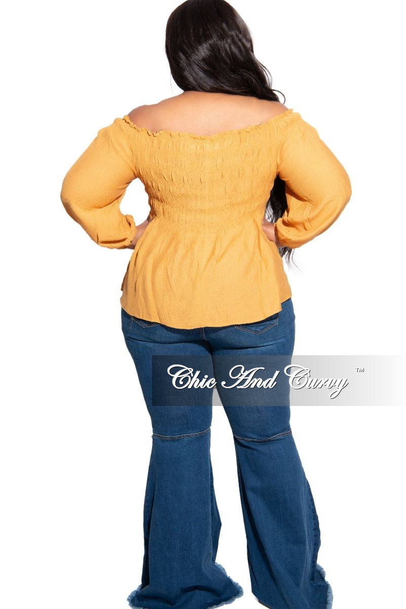 New Plus Size Off the Shoulder Smocked Top in Mustard