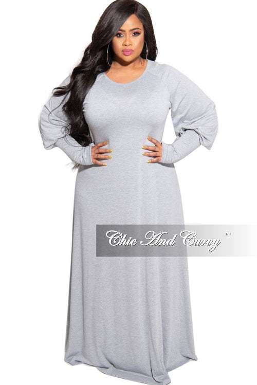 New Plus Size Puffy Sleeve Maxi Dress in Gray