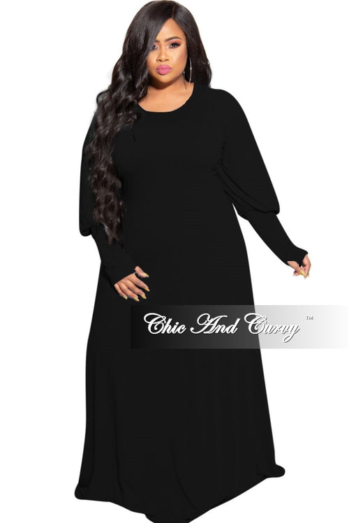 New Plus Size Puffy Sleeve Maxi Dress in Black