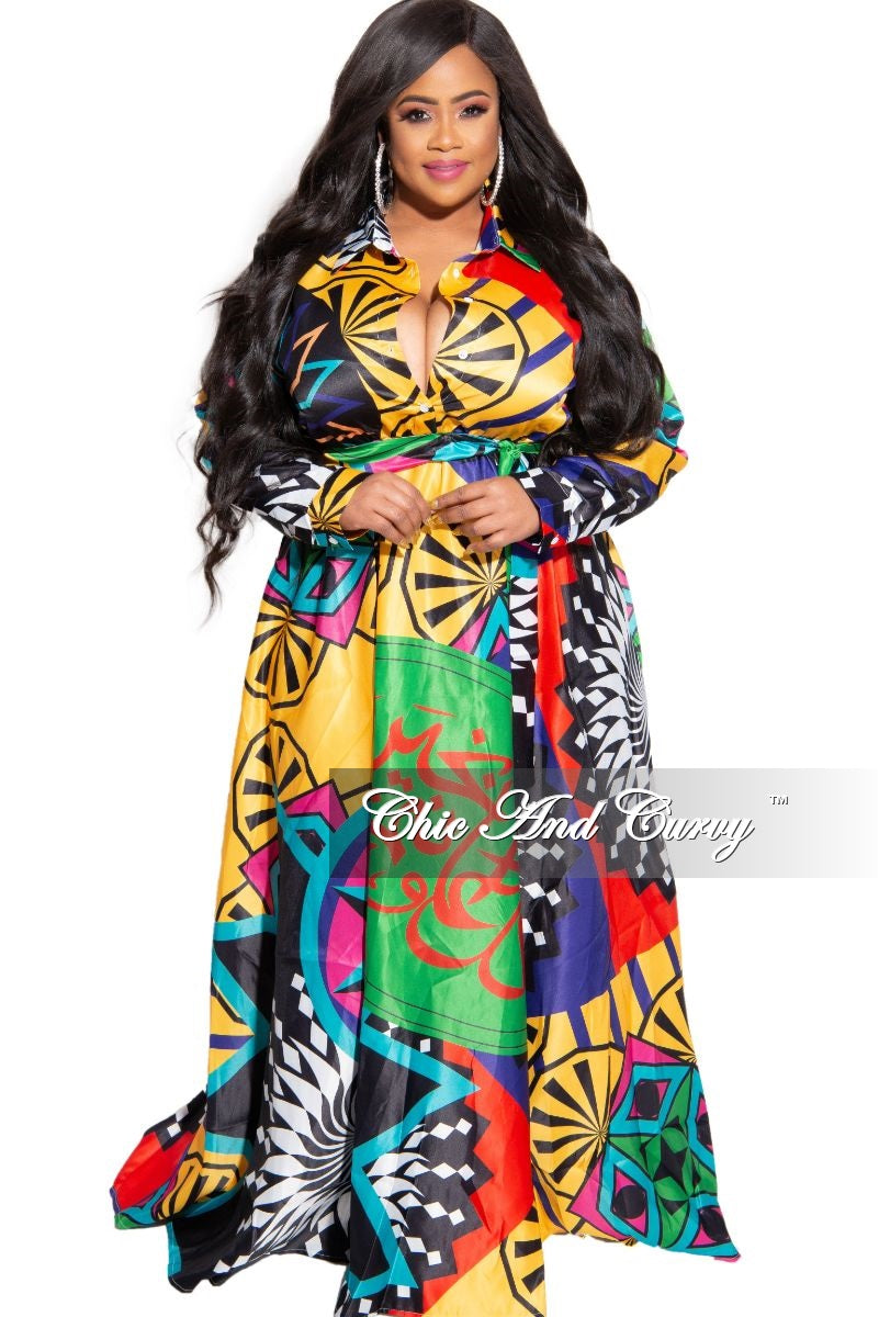 New Plus Size Collared Button Maxi with Attached Belt in Multi Color Design Print