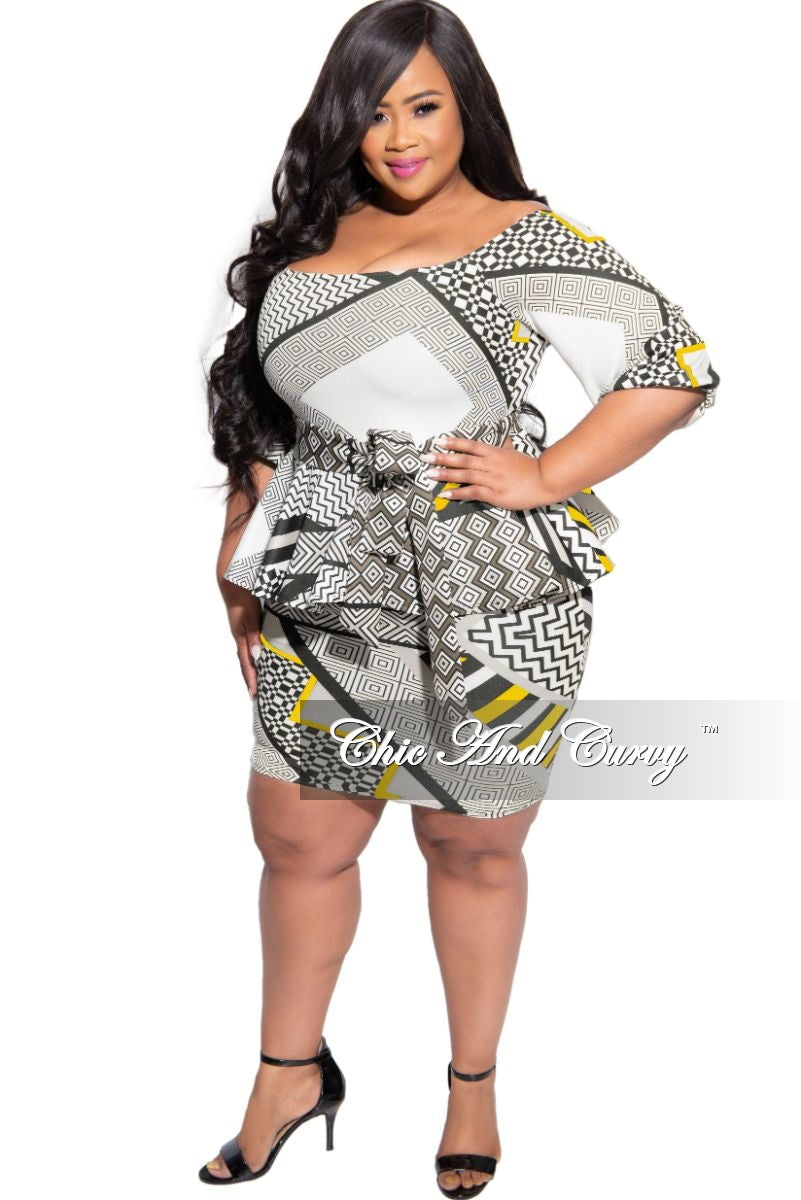 Final Sale Plus Size Off the Shoulder Peplum BodyCon Tie Dress  in Mustard Design Print