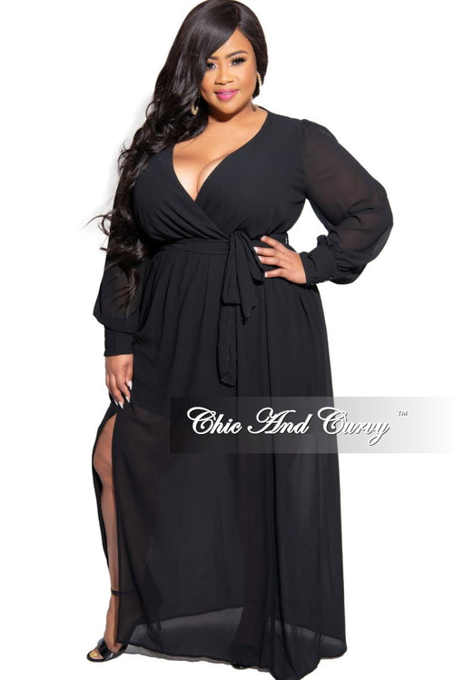 Final Sale Plus Size Chiffon Faux Wrap Tie Maxi in Black