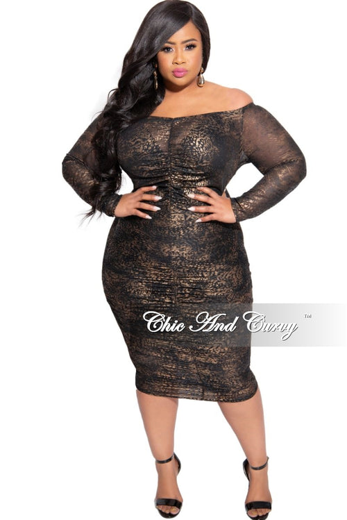Final Sale Plus Size Sheer BodyCon Ruched Dress in Bronze and Black