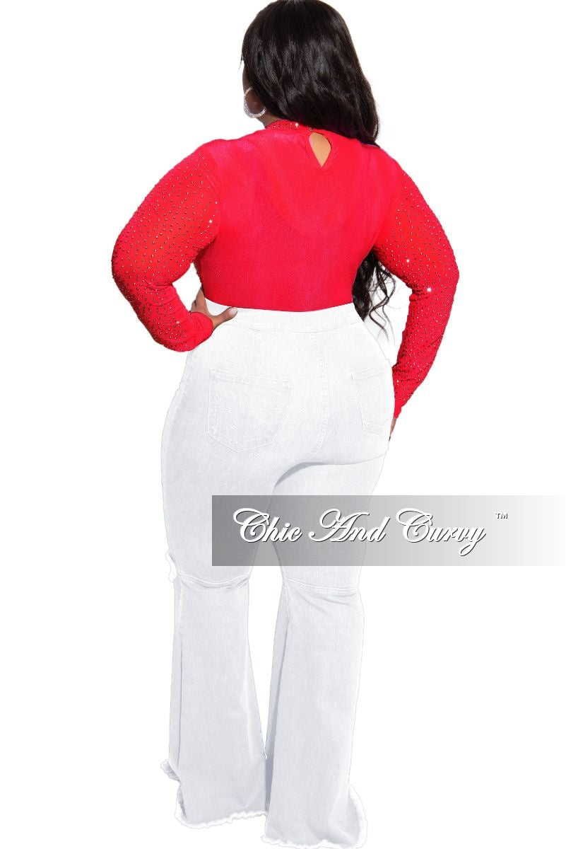 Final Sale Plus Size Silver Studs Mesh Bodysuit in Red