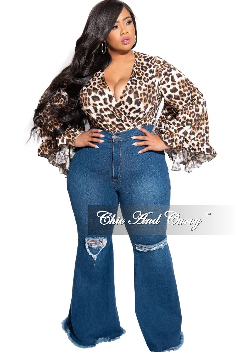 Final Sale Plus Size Faux Wrap Bell Sleeve Bodysuit in Animal Print