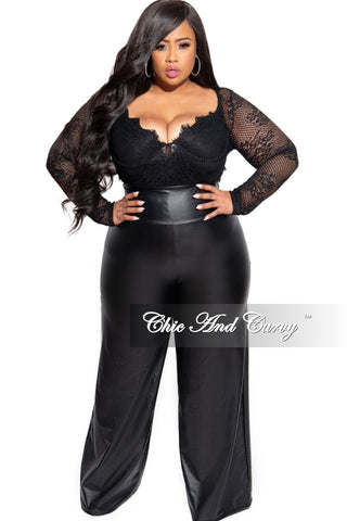 Final Sale Plus Size Mesh Pants with Side Ruffle in White