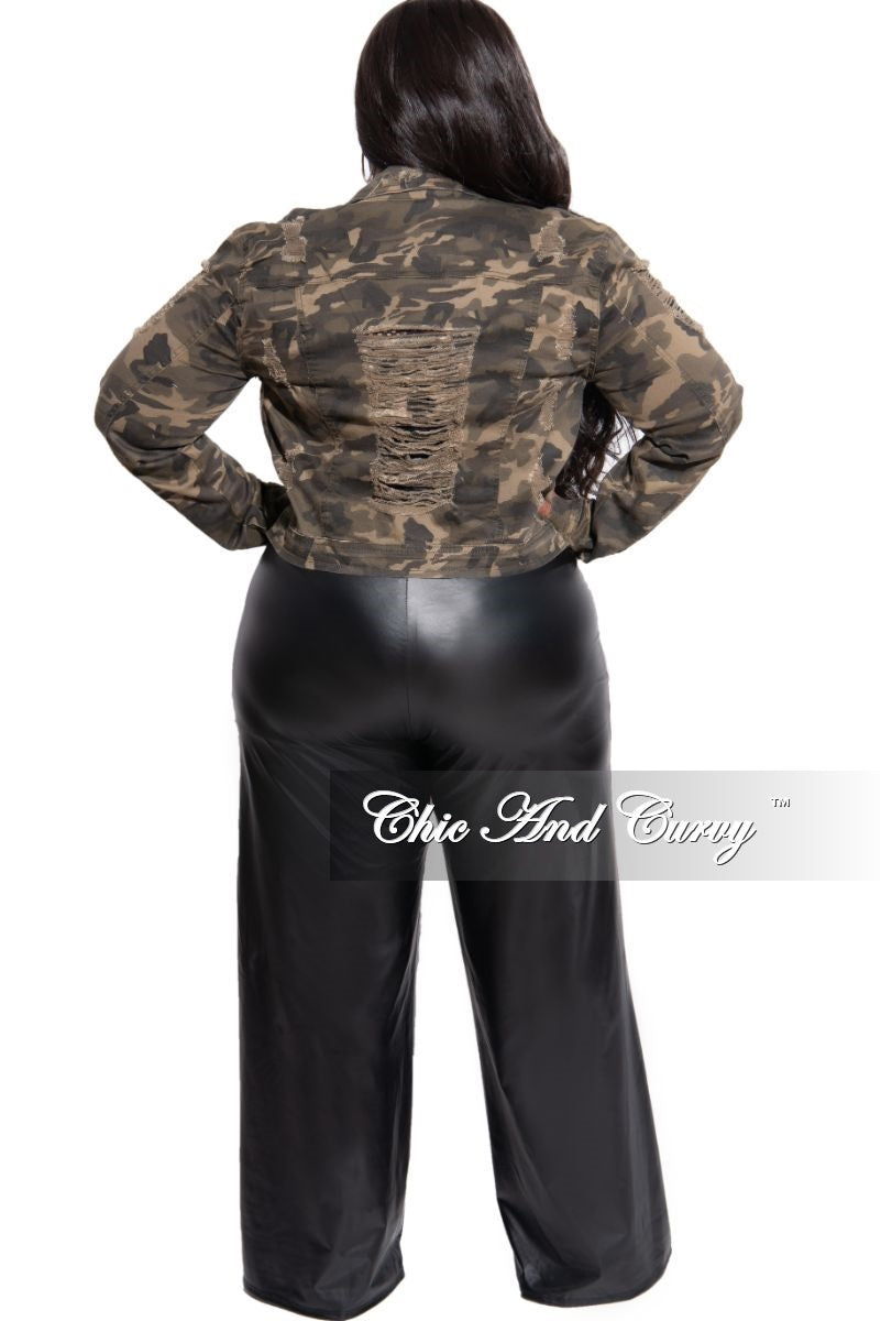 New Plus Size Distressed Jacket in Camo
