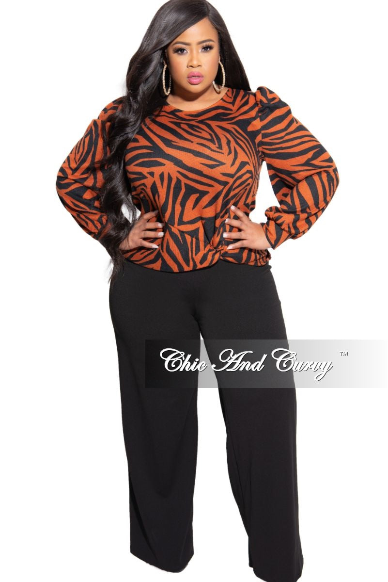 Final Sale Plus Size Pants with High-Waist and Wide Legs in Black (Pants Only)