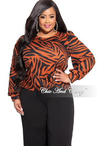 Final Sale Plus Size Long Sleeve Afrocentric Top in Fuchsia Multi Color