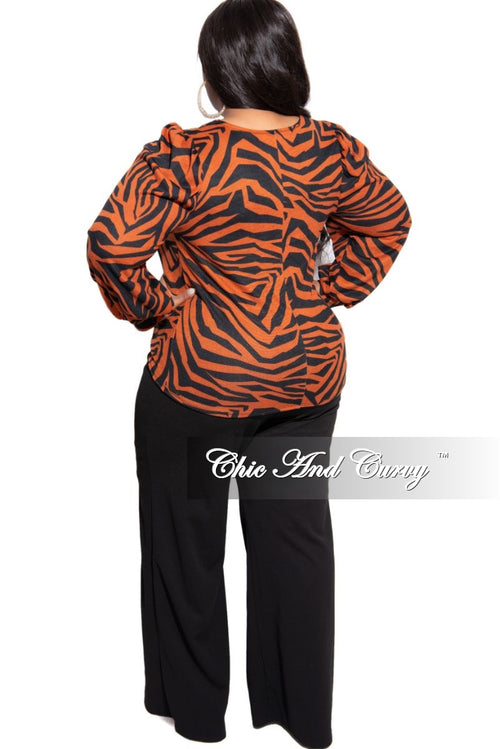 New Plus Size Top with Twisted Front in Rust and Black Zebra Print
