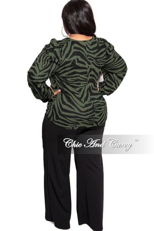New Plus Size Top with Twisted Front in Green and Black Zebra Print
