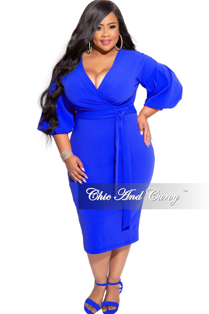 New Plus Size Faux Wrap BodyCon Tie Dress in Royal Blue