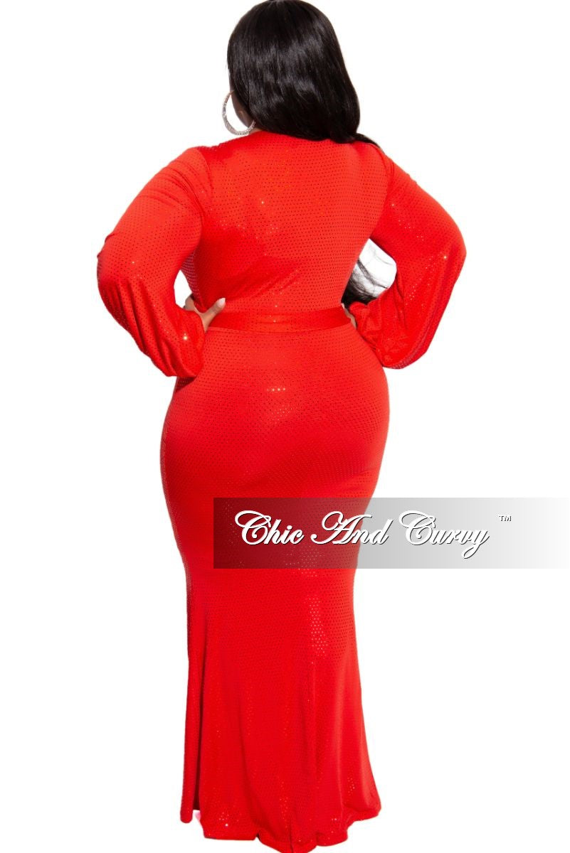 Final Sale Plus Size Sequin Faux Wrap Mermaid Tie Dress in Red