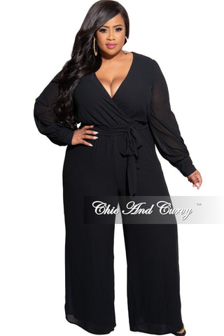 New Plus Size Faux Wrap Maxi Dress with Attached Tie in Black