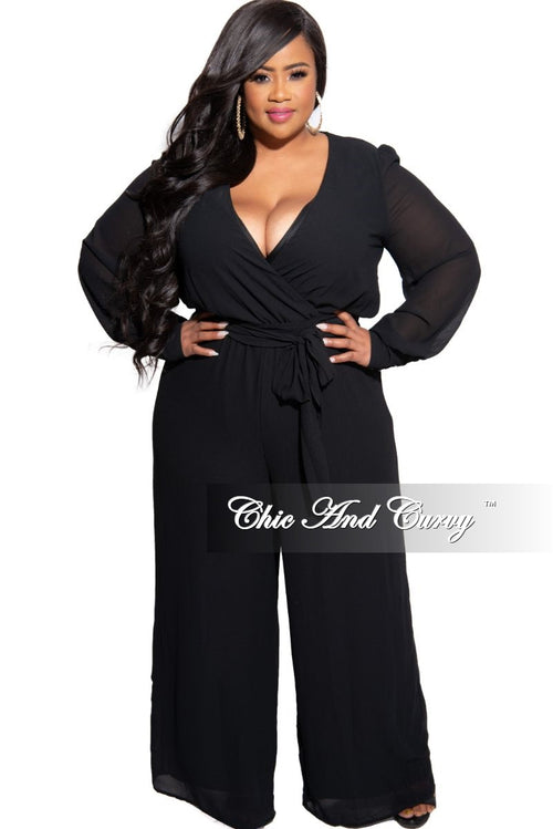 Final Sale Plus Size Chiffon Faux Wrap Peasant Sleeve Jumpsuit with Tie in Black