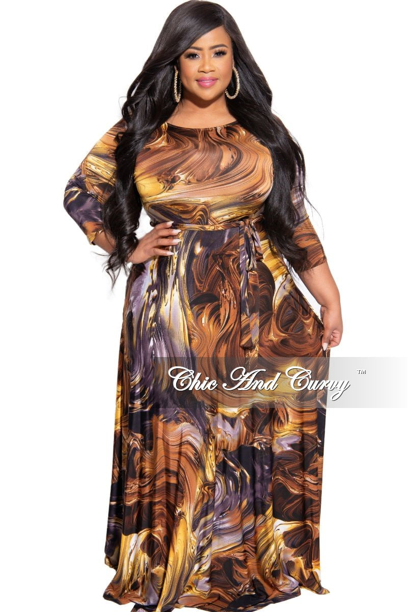 New Plus Size 3/4 Sleeve Pocket Maxi with Tie in Brown and Yellow Design Print
