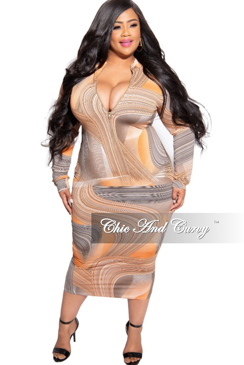 New Plus Size Reversible BodyCon Dress in Orange and Grey Design Print