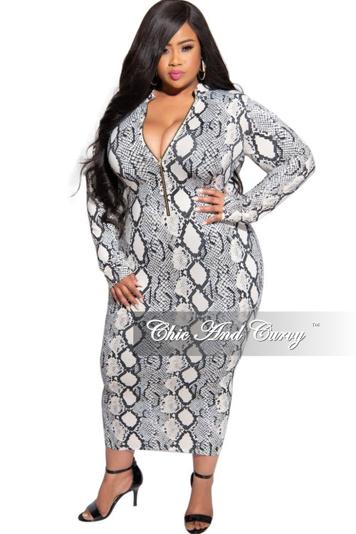 New Plus Size Reversible BodyCon Dress in Black White and Beige Snake Print