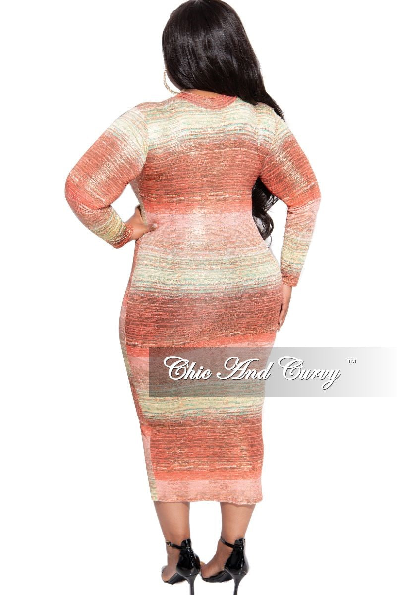 New Plus Size Reversible BodyCon Dress in Orange Coral Green and Gold Print