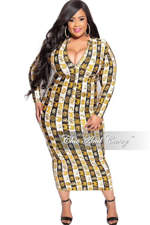 *Deal of the Day Final Sale Plus Size Reversible BodyCon Dress in Black White and Gold Design Print