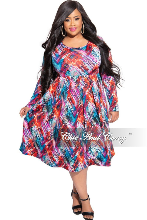 New Plus Size Dress with Pockets in Multi Color Print