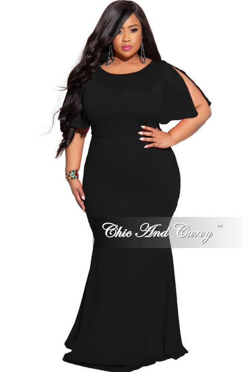 Final Sale Plus Size Slit Sleeve Ruffle Train Mermaid Gown in Black