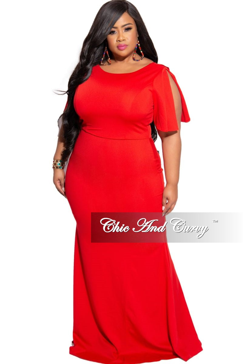 Final Sale Plus Size Slit Sleeve Ruffle Train Mermaid Gown in Red