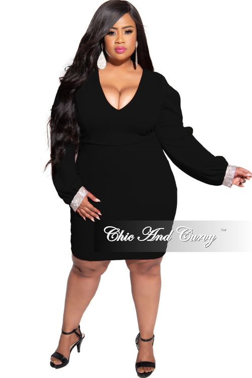 Final Sale Plus Size BodyCon Dress with Slit Sleeves and Rhinestone Cuff in Black