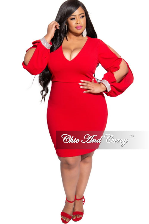 Final Sale Plus Size BodyCon Dress with Slit Sleeves and Rhinestone Cuff in Red