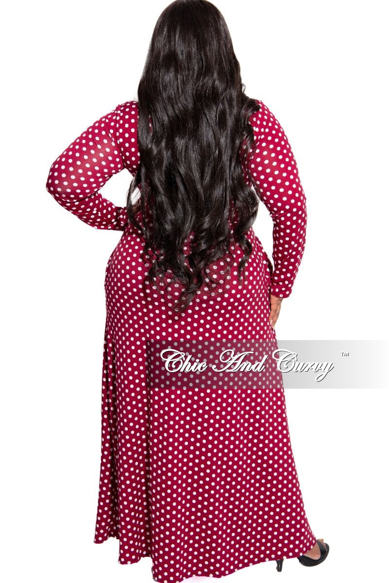 New Plus Size Faux Wrap Maxi Polka Dots Dress with Attached Tie in Wine