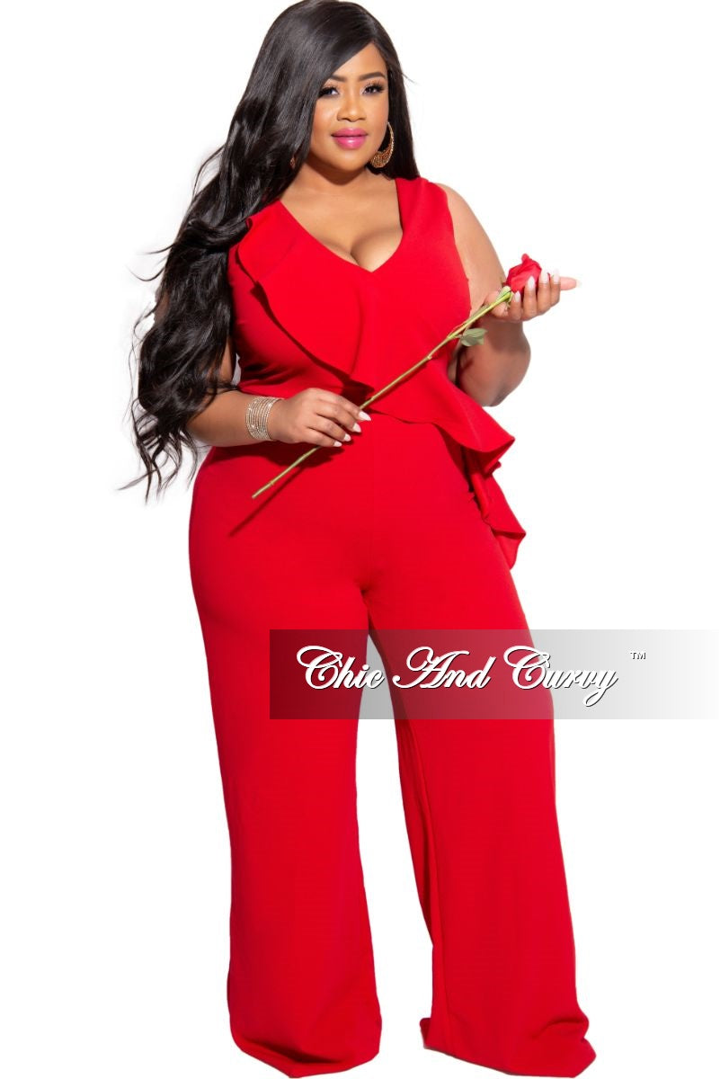 Janette Fashion Plussize Red Buckle Chain V-Neck Jumpsuit