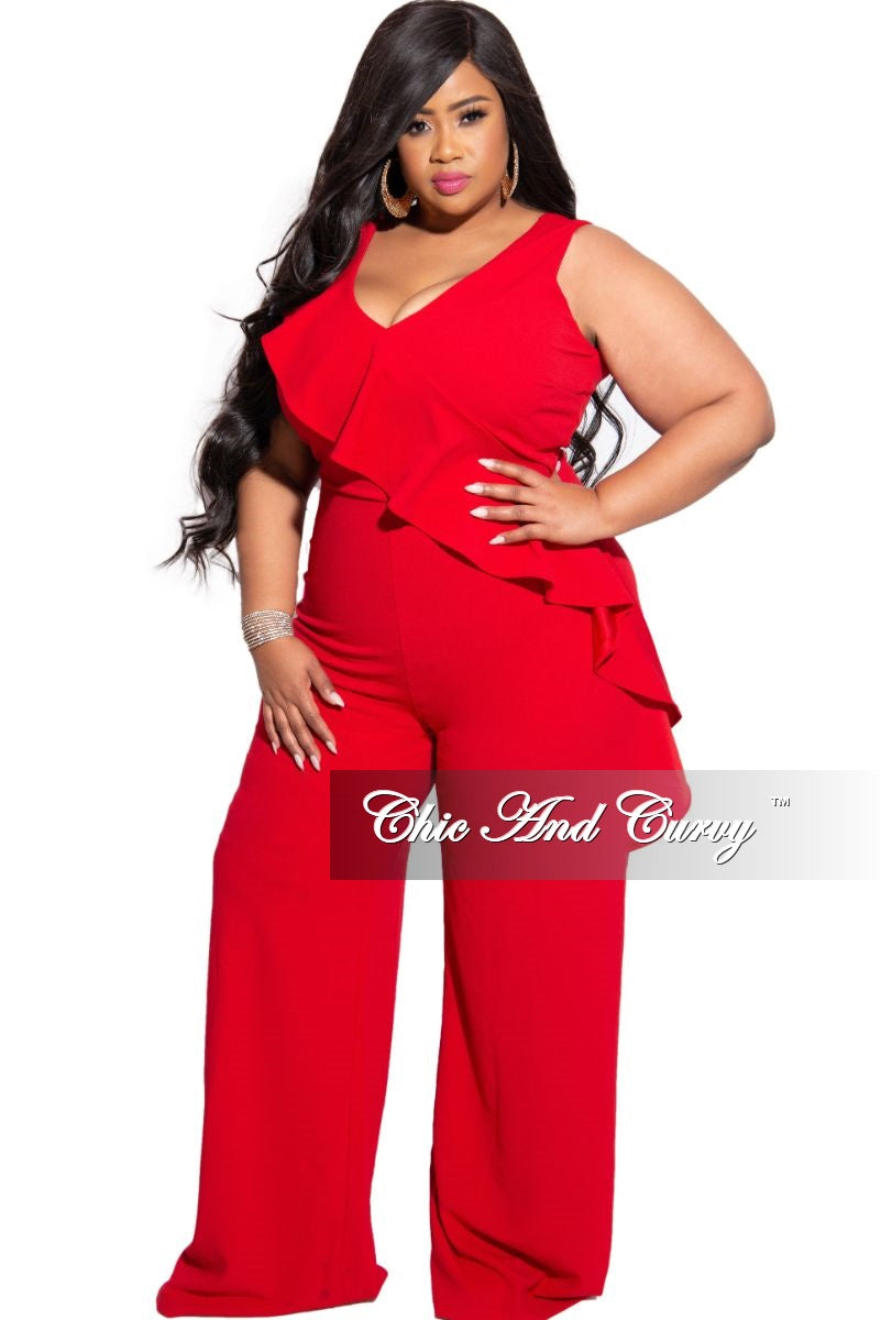 New Plus Size Jumpsuit with Front Ruffle Overlay in Red