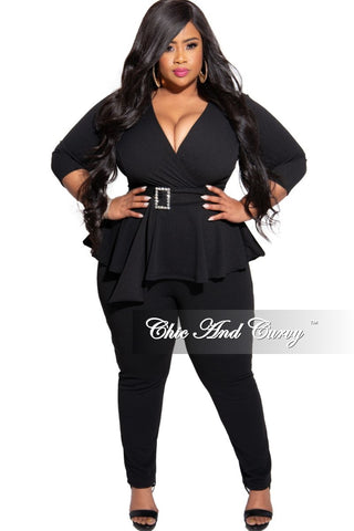 New Plus Size 2-Piece Puffy Sleeve Top and Pants Set in Animal Print