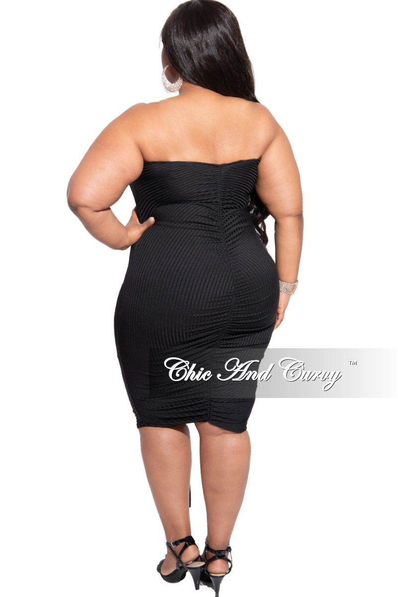 Final Sale Plus Size Ribbed Strapless Drawstring Ruched Dress in Black