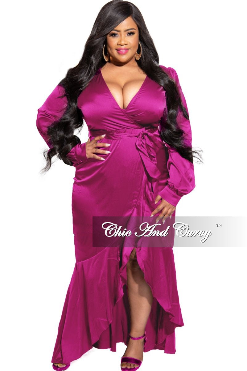 Final Sale Size Satin Faux Wrap High-Low Ruffle Tie Maxi in Fuchsia