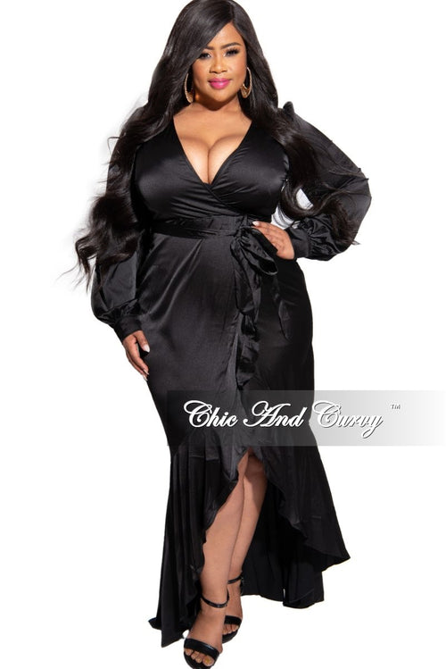 FInal Sale Size Satin Faux Wrap High-Low Ruffle Tie Maxi in Black